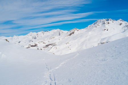 lou: Landscape of Alps mountains in winter close to Lac du Lou, Val Thorens, France