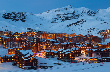 station ski: Panorama of Val Thorens by night, Alps mountains, France