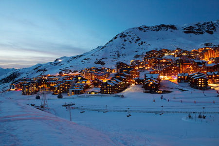 Panorama of Val Thorens by night, Alps mountains, France