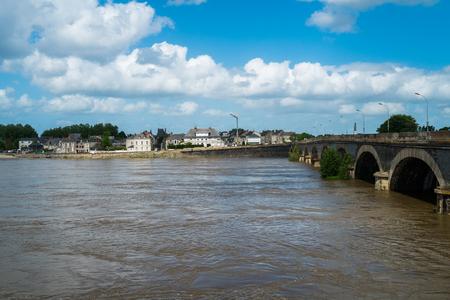 along: Village of Ponts de Ce along the Loire river, France