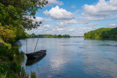 Boat on Loire river close to Angers, France