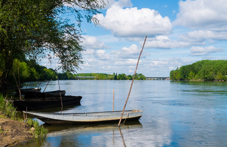 Boats on Loire river close to Angers, France