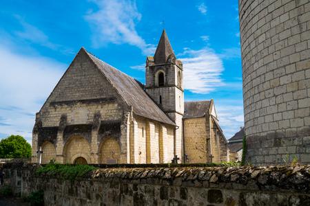 pictoresque: Church in Chenehutte, Loire region, France