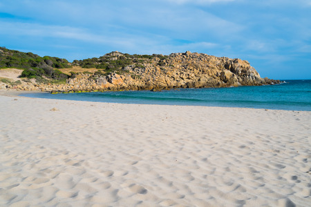 Cala Cipolla beach in Chia, Sardinia, Italy Banco de Imagens