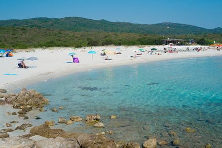rotondo: Rena Bianca beach on Emerald coast in North of Sardinia, Italy