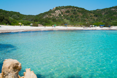 rotondo: Playa del Principe beach on Emerald coast in North of Sardinia, Italy