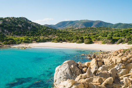 Cala Cipolla beach in Chia, Sardinia, Italy Stock Photo