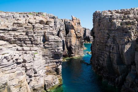 Mezzaluna Klippen in San Pietro Insel, Sardinien, Italien