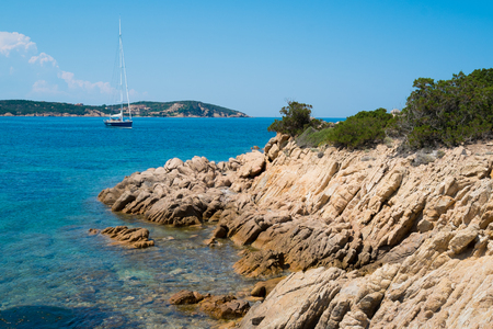 rotondo: Grande Pevero beach on Emerald coast in North of Sardinia, Italy Stock Photo