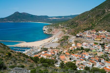 Buggerru village on the west coast of Sardinia, Italy Stock Photo