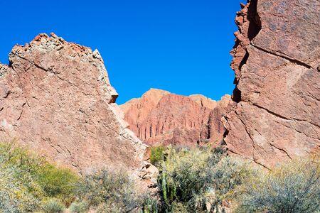 diablo: Rock formation La Puerta del Diablo, Red Canyon quebrada in Tupiza, Bolivia Stock Photo
