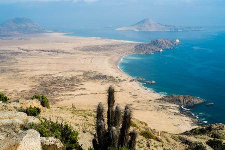 Aerial view of the coast in Parque Nacional Pan de Azucar, Chile