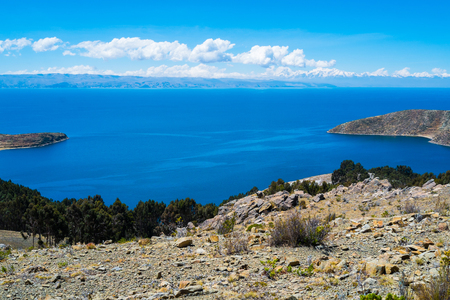 isla: Landscape on Isla del Sol, Lake Titicaca, Bolivia Stock Photo