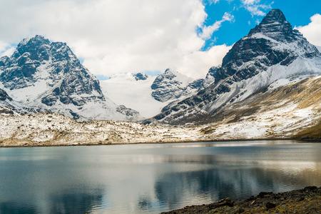 alpamayo: View of Condoriri and Alpamayo mountain at the Condoriri base camp, La Paz, Bolivia
