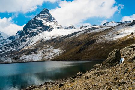 alpamayo: View of Alpamayo mountain at the Condoriri base camp, La Paz, Bolivia Stock Photo