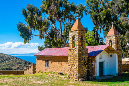 isla: Church of Yumani on Isla del Sol, Lake Titicaca, Bolivia