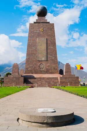 equator: Mitad del Mundo monument on the Equator line, Quito, Ecuador Stock Photo