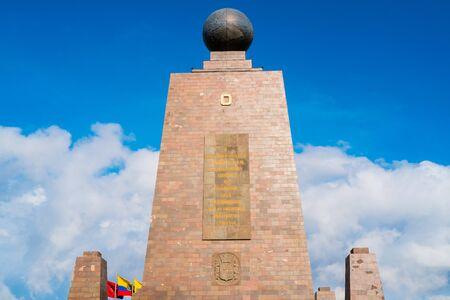 equator: Mitad del Mundo monument on the Equator line, Quito, Ecuador Stock Photo