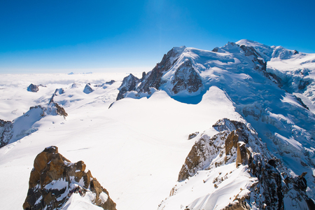 aiguille: View of Mont Blanc massif from Aiguille du Midi, Chamonix, France Stock Photo