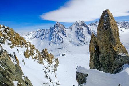 aiguille: View on Aiguille de Grand Montets in winter, Mont Blanc, Argentiere, France