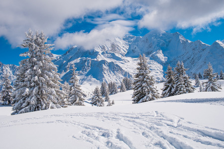 Winter landscape with Mont Blanc from Prarion, Les Houches, Chamonix, France Archivio Fotografico