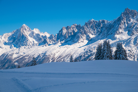 Winter landscape with Mont Blanc from Prarion, Les Houches, Chamonix, France