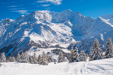 les: Winter landscape with Mont Blanc from Prarion, Les Houches, Chamonix, France Stock Photo