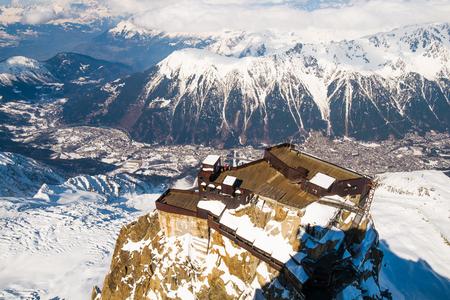 midi: View  of Chamonix from Aiguille du Midi, France