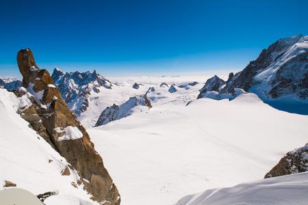 massif: View of Mont Blanc massif from Aiguille du Midi, Chamonix, France Stock Photo