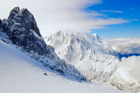 View of Mont Blanc from Grand Montets, Argentiere, France Stock Photo