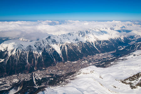 aiguille: View  of Chamonix from Aiguille du Midi, France