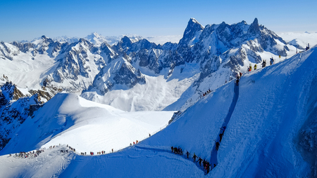 View of Mont Blanc massif from Aiguille du Midi, Chamonix, France Stock Photo