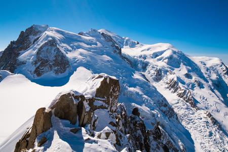midi: View of Mont Blanc massif from Aiguille du Midi, Chamonix, France Stock Photo