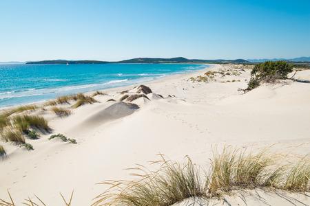 south coast: Porto Pino beach in SantAnna Arresi, south coast of Sardinia, Italy Stock Photo