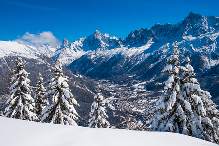 Panorama of Chamonix valley and Mont Blanc Massif in winter from Prarion, Les Houches, France Reklamní fotografie