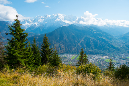 View of Passy and Mont Blanc, Chamonix, France Stock Photo