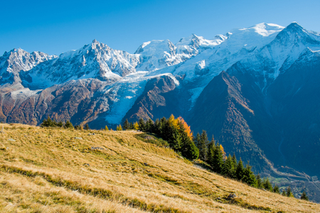 View of Mont Blanc from chalets des Chailloux in autumn, Chamonix, France Stock Photo