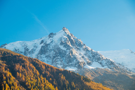 View of Mont Blanc Aiguille du Midi in autumn from Chamonix