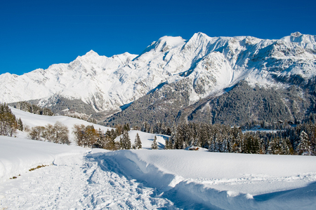 Winter landscape of Mont Blanc from Colombaz, Les Contamines, Chamonix, France