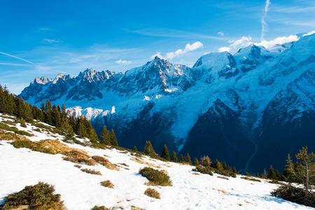 View of Mont Blanc from Aiguillette des Houches, Chamonix, France Standard-Bild