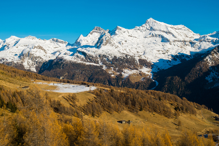 View of mountains with mont Rose in Val d Ayas, Aosta Valley, Italy Standard-Bild