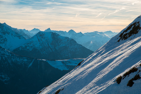 View of Mont Blanc and the Aravis from Aiguillette des Houches, Chamonix, France