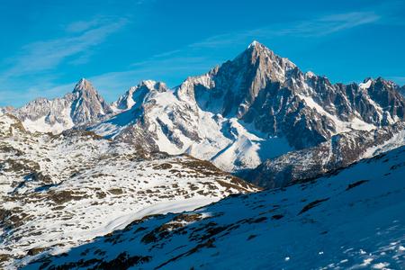 View of the Aiguille Rouge from Aiguillette des Houches, Chamonix, France Standard-Bild