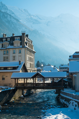 Chamonix downtown in winter with Arve river, France