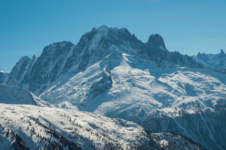 View of Mont Blanc from Chalet de la Loriaz, Chamonix, France