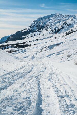 Snowy landscape at Col de la Colombiere in winter, Cluses, France Standard-Bild