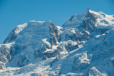 Close-up of the top of Mont Blanc in winter, Chamonix, France