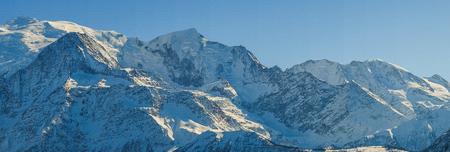 Panorama of massif du Mont Blanc, Chamonx, France