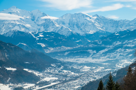 View of Mont Blanc Valley with sallnches and Passy i Winter, France