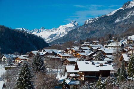 Village of Servoz in winter, Chamonix, France